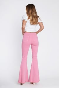 Pink Knee-Ripped Flare Jeans - Blush - Back