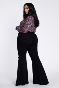 Plus Size Distressed Flare Jeans - Black - Back