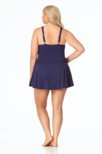 PRE ORDER Anne Cole® Live in Color Swimdress One Piece Swimsuit - Navy - Back