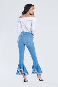 Ruffle Bell-Bottom Jeans - Light stone - Back