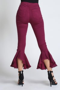 Burgundy Ruffle Bell-Bottom Jeans - Burgundy - Back