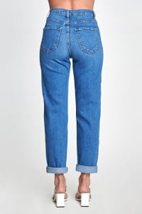 Essential High Rise Mom Jeans - Medium stone - Back