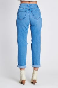 Ripped Boyfriend Jeans - Medium stone - Back