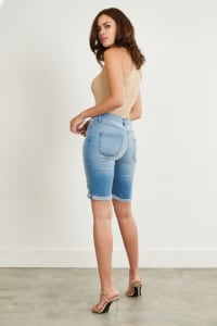 Denim Ripped Shorts - Medium stone - Back