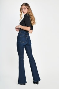 High Rise Dark Flare Jeans - Dark stone - Back