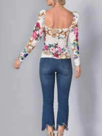 Pre Order Puff Sleeve Printed Floral Lace Blouse - White - Back