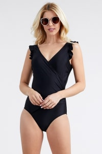 V-Neck Swimsuit With Flirty Shoulder Ruffle - Black - Back