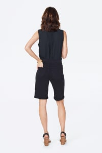 PRE ORDER NYDJ Pull On Shorts with Rolled Cuff - Black - Back