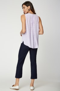 PRE ORDER NYDJ Sleeveless Pintuck Blouse - LILAC CAT - Back