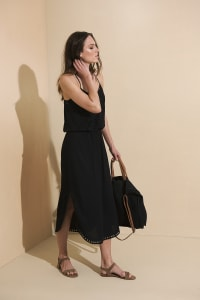 Lisa Midi Dress - Black - Back