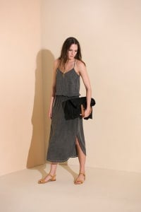 Lisa Midi Dress - Charcoal - Back