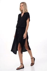 Uma Shirt Dress - Black - Back