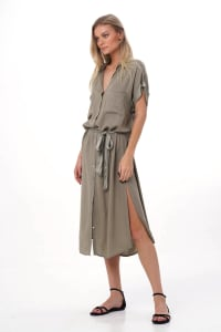 Uma Shirt Dress - Olive - Back