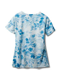Tonal Floral Tie Front Knit Top - Blue - Back