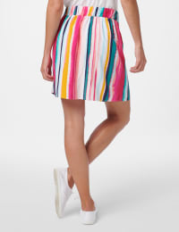 Stripe Elastic Waist Pull On Skort - Watermelon Beach - Back