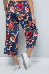 Pre Order Floral Wide-Leg Cropped Pants - Denim - Back