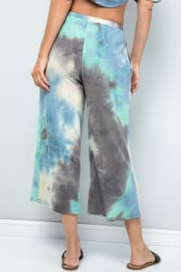Pre Order Multi-color Cropped Wide-Leg Pants - Blue charcoal - Back