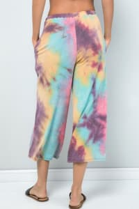 Pre Order Multi-color Cropped Wide-Leg Pants - Pink magenta - Back