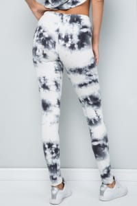 Pre Order Tie Dye Soft x Stretchy Leggings - Ivory - Back