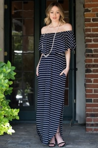 Off-shoulder Striped Maxi Dress - Navy / Ivory - Back