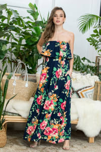 Pre-Order Ruffle Floral Strapless Maxi Dress - Navy - Back