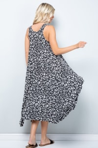 Leopard Tank Dress W/ Handkerchief Hem - Black / Ivory - Back