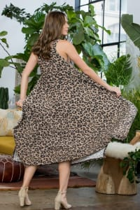 Leopard Tank Dress W/ Handkerchief Hem - Mocha - Back