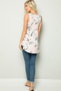 Floral Tunic Top - Blush - Back
