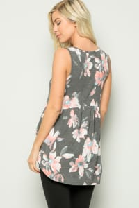 Floral Tunic Top - Charcoal - Back