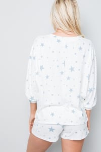 Pre-Order Star Print Top - Blue - Back