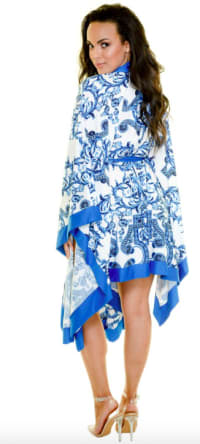 Pre Order Blue Scroll Swimwear Kimono - Blue - Back