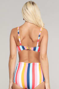 Rizzo Retro Inspired High Waist Bikini Set - Multi Stripe - Back