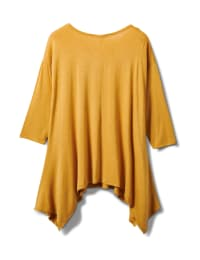 Texture Shark Bite Hem Knit Tunic - Plus - Mustard - Back