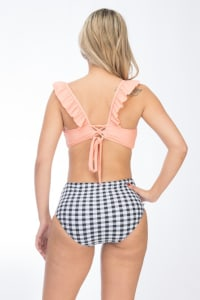 Pre Order High-Waist Cross Back Bikini - Peach - Back