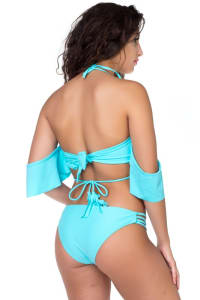 Pre Order Two Piece Off-Shoulder Strappy Bikini - Blue - Back
