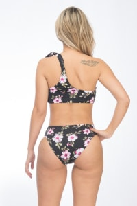 Pre Order One-shoulder Hibiscus Floral Bikini - Black - Back