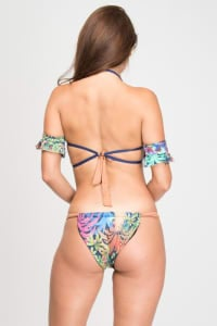 Pre Order Tropical Two-Piece Sexy Print Strappy Bikini - Navy - Back