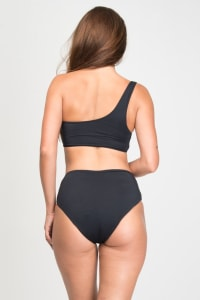 Pre Order Asymmetrical High-Waist Bikini - Black - Back