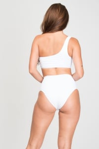 Pre Order Asymmetrical High-Waist Bikini - White - Back
