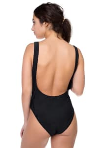 Babe Watch Print Swimsuit - Black - Back