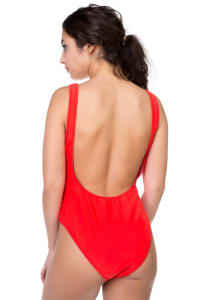 Babe Watch Print Swimsuit - Red - Back