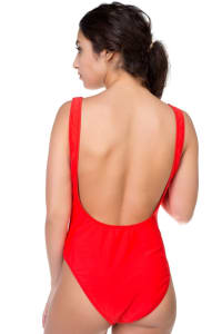 Pre Order One Piece Honey Print Swimsuit - Red - Back