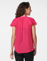 Crochet Trim Flutter Sleeve Textured Woven Top - Fuschia - Back