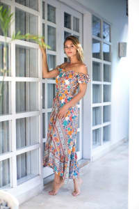 Pre-Order Off-Shoulder Maxi Dress - Multi - Back