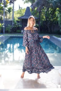 Pre-Order Off-Shoulder Floral Peasant Dress - Navy - Back