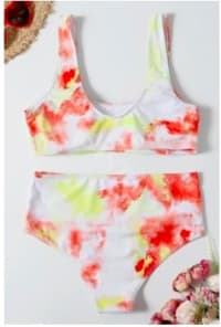 Pre Order Multicolor Tie Dye High Waist Bikini Set - Orange - Back