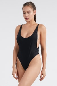Pre-Order Classic One Piece Swimsuit - Black - Back