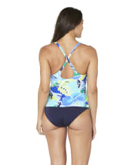 Pre-Order Nautica® Cocktails on the Bow High Neck Tankini Swimsuit Top - Blue - Back