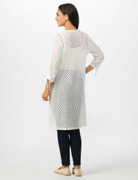 Shirred Sleeve 2 Pocket Duster - White - Back