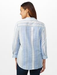 Denim Friendly Yarn Dye Stripe Shirt - Misses - Blue/Green - Back